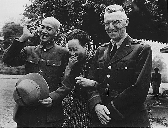 Chiang Kai Shek and wife with Lieutenant General Stilwell Image public domain