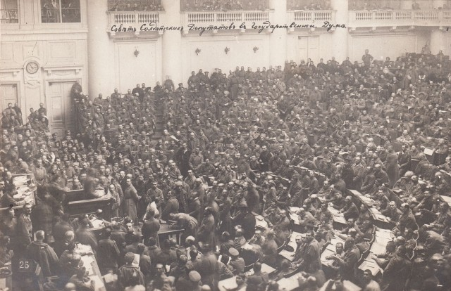 1917 Petrograd Soviet Assembly Image Wikimedia Commons