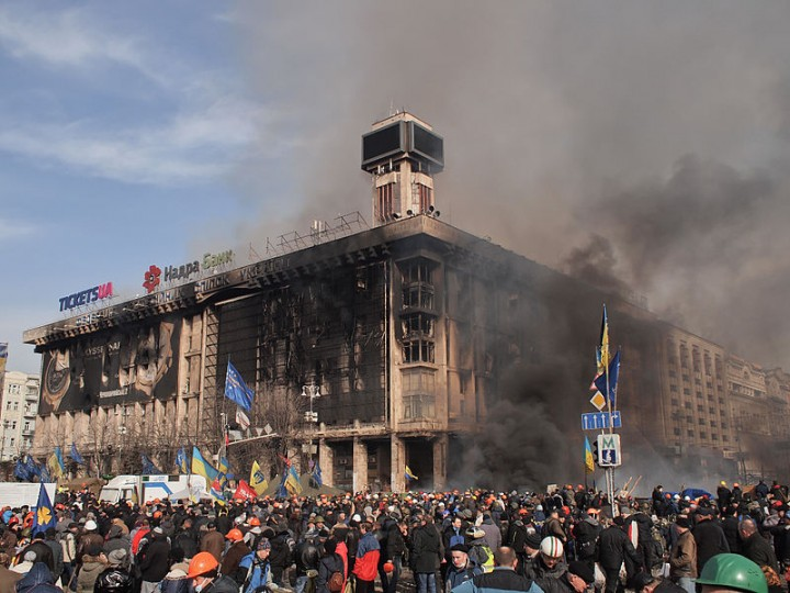 Labour Unions Building on fire in Kiev 2014 Image Amakuha