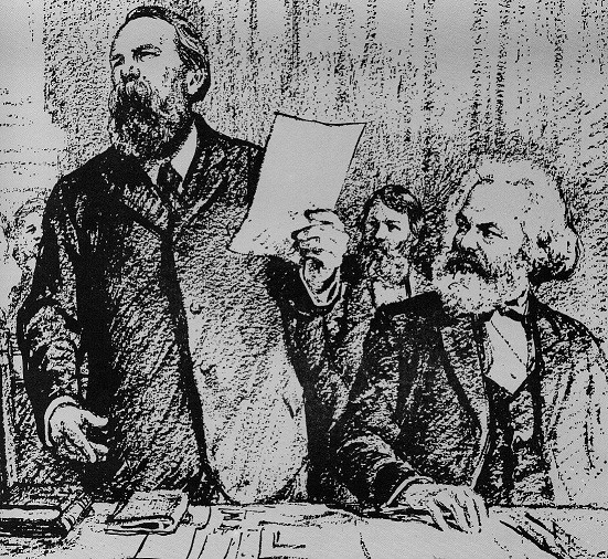 Marx and Engels at Hague Congress Image public domain