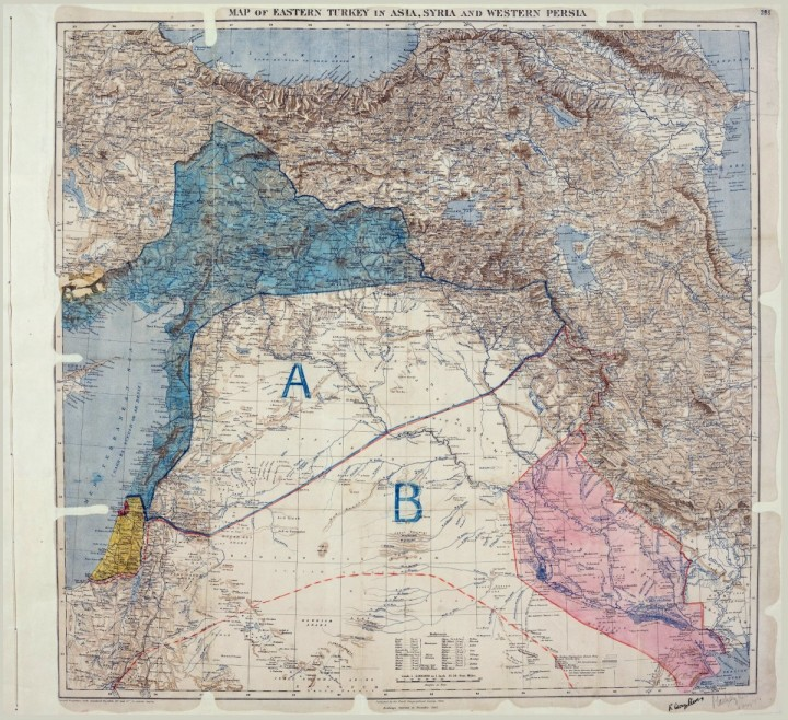 Sykes Picot Agreement Map Image public domain