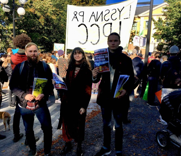 Four comrades of the IMT participated in Umeå 27 Sept Climate Strike