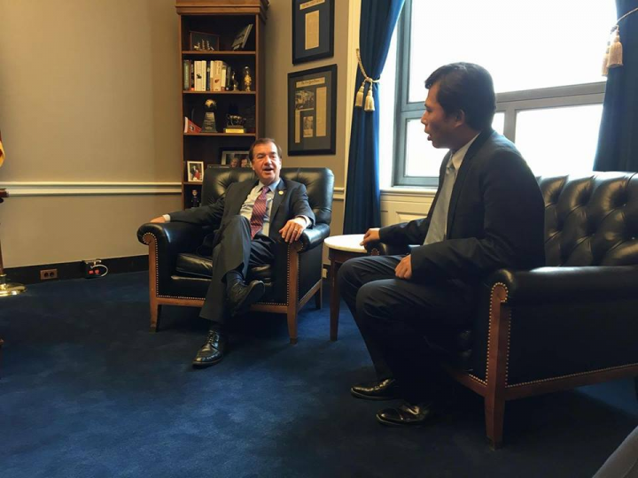 NPP chair Huang Kuo chang speaking with US Republican retiring chairman of the House Committee on Foreign Affairs Ed Royce Image New Power Party Official Facebook