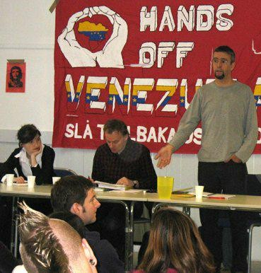 Martin middle during a meeting with Hands off Venezuela in Sweden. To the left Ylva Vinberg and to the right Jorge Martin
