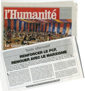 The text of La Riposte was sent out to more than 100,000 party members in a special edition of L'Humanité.