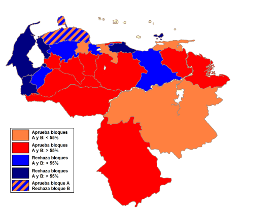 The first serious warning came in December 2007 with the defeat in the constitutional reform referendum. The blue areas represent the densly populated areas where 'no' won.
