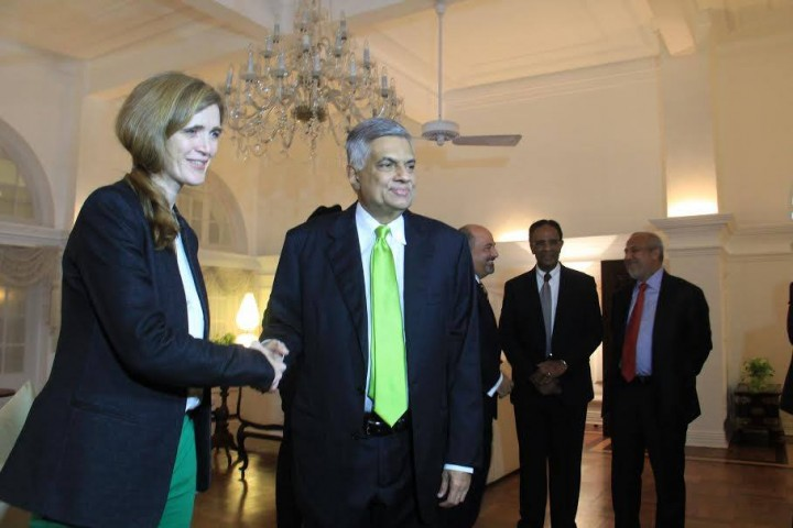 Samantha Power meets Ranil Wickremesinghe Image U.S. Embassy Colombo