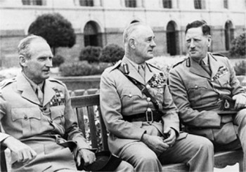 Generals Montgommery, Wavell and Auchinleck - commanders that were forced to follow Churchill's hair-brained plans.