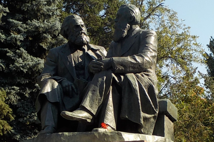 Statues of Karl Marx 1818 1883 and Friedrich Engels Image Zorion