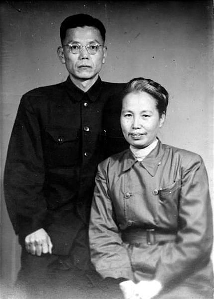 Ex leaders of the Taiwanese Communist Party Xie Xuehong front and Yang Kehuang behind became key leaders of the radical forces during the 228 Uprising Image Wikipedia public domain