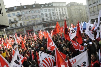 Protest against the cuts in social spending in Zurich