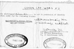Papers announcing Frank Ward's discharge