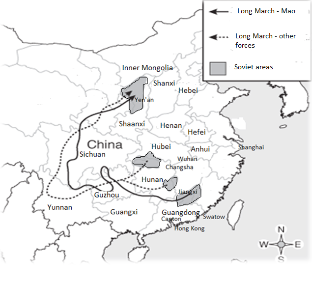 "Map of China – showing major Soviet areas remaining after the 4th<br/>""bandit extermination campaign"", at start of Long March (1934-35)"