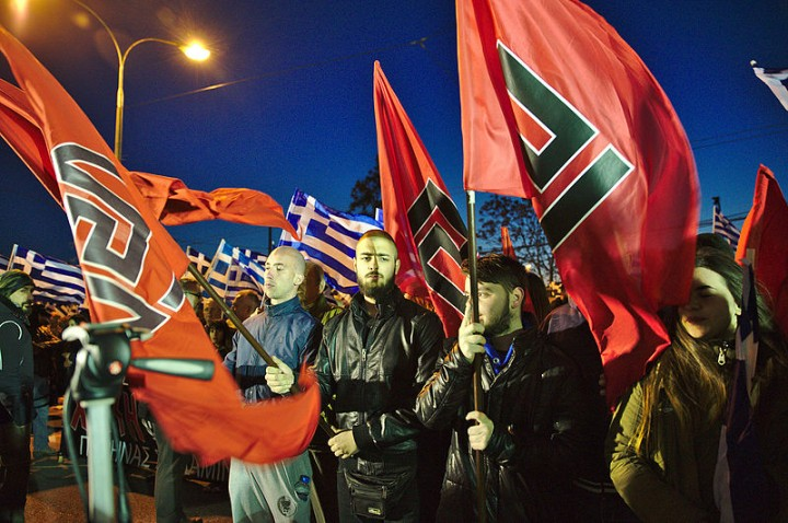 Golden Dawn members at rally in Athens 2015 Image DTRocks