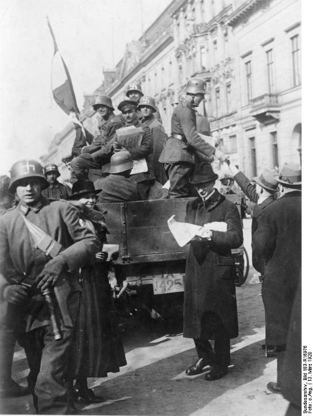 Reactionary Stalhelm soldiers with Swastikas in Berlin.